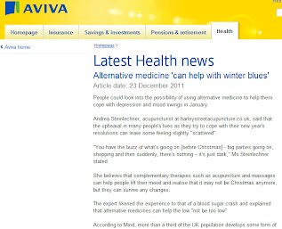 "Latest Health news Alternative medicine 'can help with winter blues'Article date: 23 December 2011  People could look into the possibility of using alternative medicine to help them cope with depression and mood swings in January.  Andrea Steinlechner, acupuncturist at harleystreetacupuncture.co.uk, said that the upheaval in many people's lives as they try to cope with their new year's resolutions can leave some feeling slightly ""scattered"".  ""You have the buzz of what's going on [before Christmas] - big parties going on, shopping and then suddenly, there's nothing – it's just dark,"" Ms Steinlechner stated.  She believes that complementary therapies such as acupuncture and massages can help people lift their mood and realise that it may not be Christmas anymore, but they can survive any changes.  The expert likened the experience to that of a blood sugar crash and explained that alternative medicines can help the low ""not be too low"".  According to Mind, more than a third of the UK population develops some form of seasonal affective disorder."